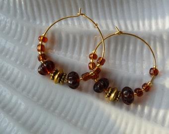 Large Hoop Glass & Metal  Beaded Earrings
