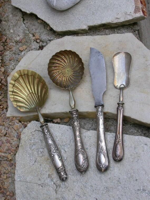 4pcs french antique art nouveau sterling silver dessert fork. Black Bedroom Furniture Sets. Home Design Ideas