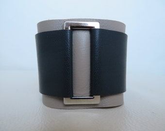 Taupe and Charcoal Leather Cuff with Nickel Rectangle Embellishment
