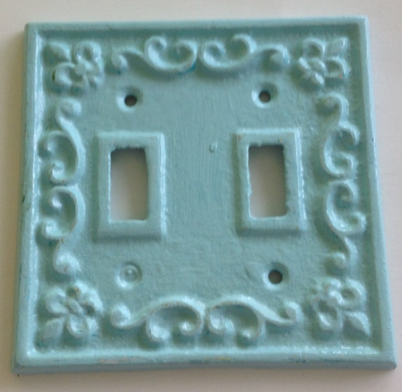 Cast iron double switch plate cover spa by sistersshabbycloset - Wrought iron switch plate covers ...