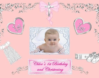 10 Personalised Photo Christening\B aptism 1st Birthday Invitations ...