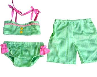 Brother Sister Boy Girl Twin Swimsuit Set - Dale & Darla[SSSHDD]