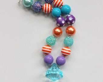 chunky bead necklace girl bubblegum necklace chunky bubblegum bead necklace orange aqua purple necklace summer necklace