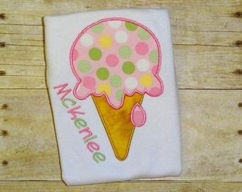 ice cream cone shirt girls first birthday shirt  toddler birthday mint green pink polka dot birthday clothing girl birthday applique top