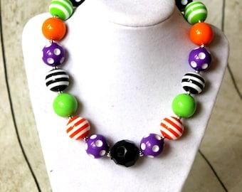 Halloween chunky bead necklace bubblegum bead necklac chunky bead necklace for girl bubble gum bead bubblegum purple orange black lime green