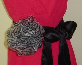 Ladies Black Silk Belt With Silk Flower
