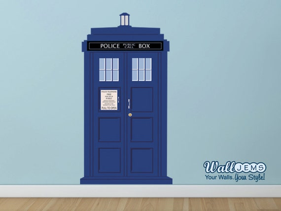doctor who tardis police call box 2 vinyl wall decal by wall. Black Bedroom Furniture Sets. Home Design Ideas