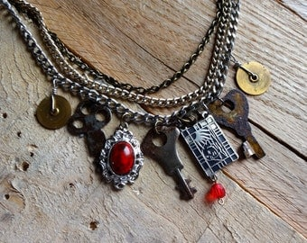 N169 Steampunk Stunning Vintage Skeleton Key Antique Pocket Watch Gears and Treasures Charm Necklace -- FREE SHIPPING