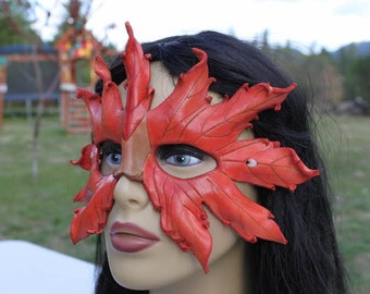 LEATHER stained autumn leaf mask