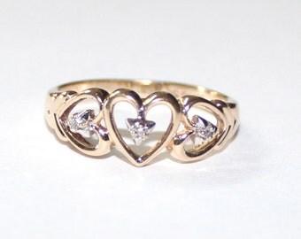 Heart Diamond Ring 10k yellow gold - 7 ring size - sku 8844