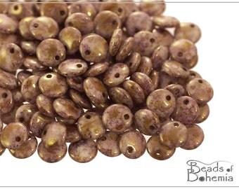 Chalk Brown/Violet Senegal Czech Lentil Beads 6 mm, 50 pcs (8826)