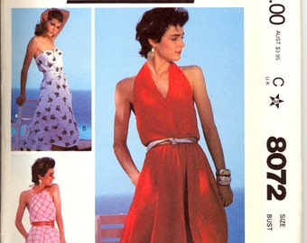 Uncut 1980s Size 12 Bust 34 Halter Top Drawstring Dress McCalls 8072 Vintage Sewing Pattern 80s New