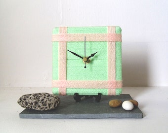 Desk Clock / Small Wall Clock Mint and Peach Wool Yarn Clock  - Pale Green Salmon Pink