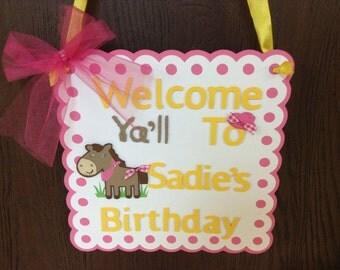 Cowgirl  Party Door Sign