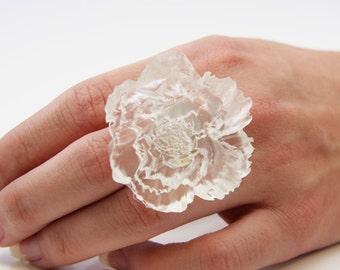 Big Statement Ring, White Ring, Flower Ring, Rose Ring, Big White Ring, Flower Jewelry, Statement Jewelry, Resin Ring, Bridesmaid Jewelry