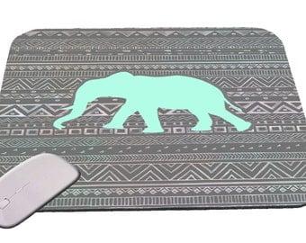 Blue Elephant with Tribal Print  Mouse Pad