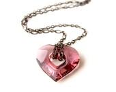 Valentine's day gift for her - Swarovski crystal heart in Antique Pink color. Black gun metal chain.Graduation 2016 gift, teacher's gift.