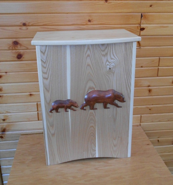 Solid Hardwood Kitchen Trash Container with 2- 3d Bear carvings on the front panel. Ideal for log home or cabin decor.