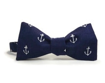Anchors on navy, Nautical bowtie, navy blue anchors, navy bowtie, mens bowtie, bow tie, sailor bowtie, nautical mens, nautical accessory
