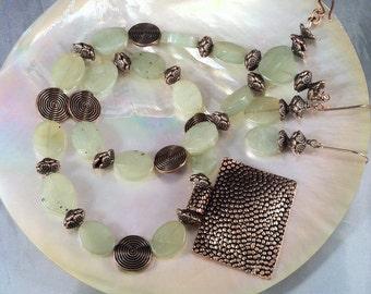 Jade and Copper Necklace Set/ Xui Jade & Copper/ Jade Statement Necklace/