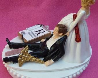 Wedding Cake Topper Doctor Physician Themed w/ Bridal Garter Medical Work Pharmacist Prescription RX Humorous Job Occupation Fun Bride Groom