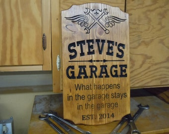 Garage Sign Personalized Wooden Carved Stained Housewarming Gift Tool Image Engraved Plaque Groomsmen Gift Established Date 18 x 11 Pine 751