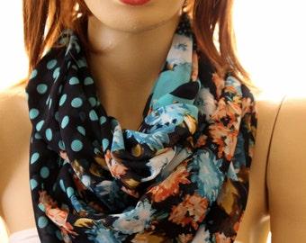 Silk Infinity scarf. Loop scarf. Circle scarf. Women Scarf. Gift. flowers scarf, accessory, infinity scarf, scarves, women accessory, shawl