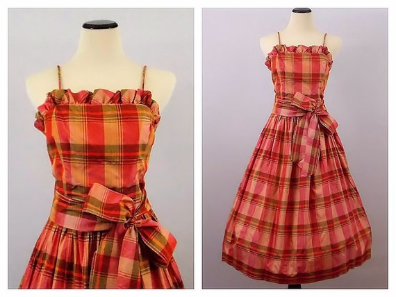 Pink Madras Plaid Dress - Spaghetti Strap Ruffle Neckline Circle Skirt Dress - Vintage 1970s Rockabilly Plaid Dress