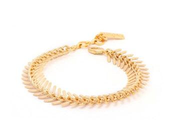 Gold Bracelet, Geometric Bracelet, Industrial Fishbone Bracelet, Friendship Bracelet, Bridesmaid, Gift under 25