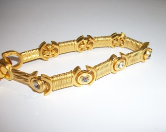 Vintage Brushed Gold-tone and Rhinestone Bracelet unmarked