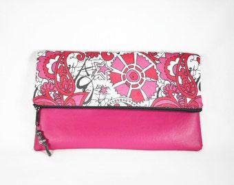Hot Pink Vegan Leather Fold Over Zipper Clutch, Pink Gray Retro Fabric Print Fold Over Clutch, Zip Fold Over Clutch