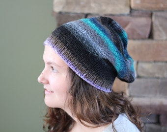 Free Shipping Available! Hand Knit Wool Hat - Slouchy Stripes
