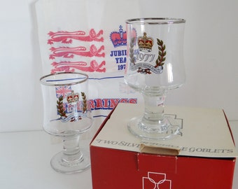 Vintage Wine Glasses Set of Two Jubilee Glass Wine Goblets with Silver Rim by Dema, in Original Box and Commemorative Jubilee paper Bag 1977