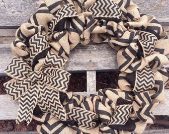 Burlap Wreath -  Chevron with Black and Natural Chevron- Home Decor Front Door Wreath Spring Wreath