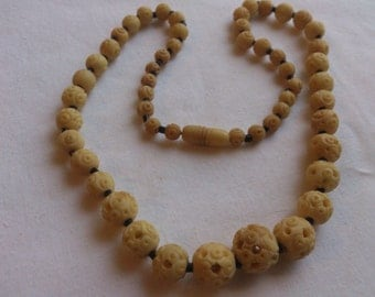 Vintage carved bead necklace FREE SHIPPING!!