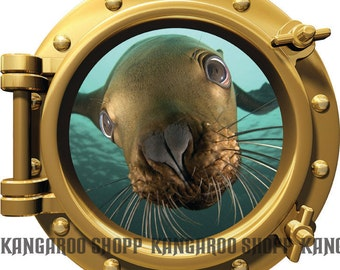Seal up close Underwater Porthole Wall Decal