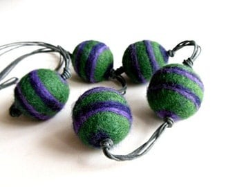 Felted necklace gren beaded necklace hand felted  felt, green violet