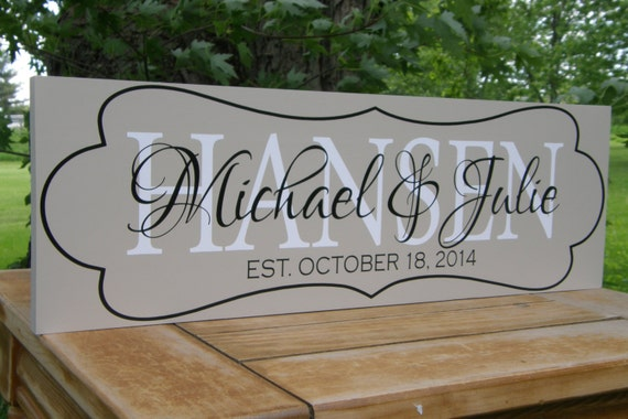 Unique Wedding Gifts Personalized : Personalized Gifts, Unique Wedding Gifts, Established Family name sign ...