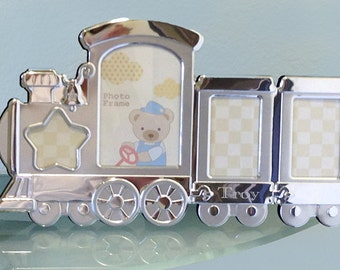 Personalized Train Frame - Silver Plated Train Collage Frame - Kids Frame