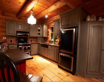 Custom Kitchen Cabinets / Cabinets Made To Order / Log Home Kitchen /  Framed Kitchen Cabinets
