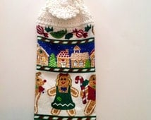 Gingerbread Village Crochet Top Towel (C6)