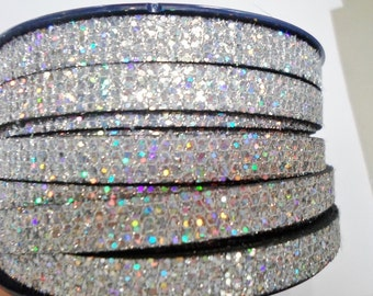 """Per 8"""" Silver Glitter 10mm Flat Cord, Bracelet Finding, Jewelry Supplies, Supplier, Craft Supply, Synthetic, Eco, Faux leather"""