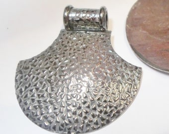 SALE: Handcrafted Silver Plated Pendant Slider Bail, 47x44mm Axe with Textured confetti design