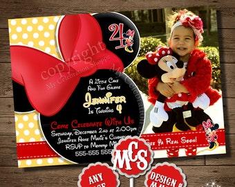 MINNIE MOUSE BIRTHDAY Invitation, Invitation, My Celebration Shoppe, Printable Invitation, Polka Dot Invitation, Minnie Mouse, Birthday