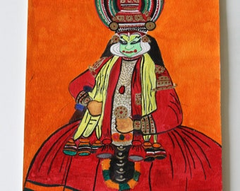 Kathakali, Indian classical dance portrait painting, FREE Shipping, Pretty Artful