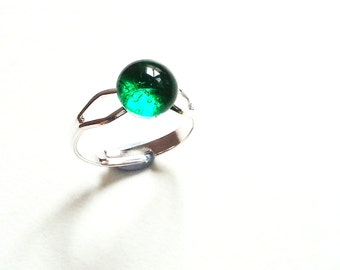 Small Glass Ring - Color Choices - Adjustable Nickel Free - Pretty Double Shaft - Art Quality Fused Glass