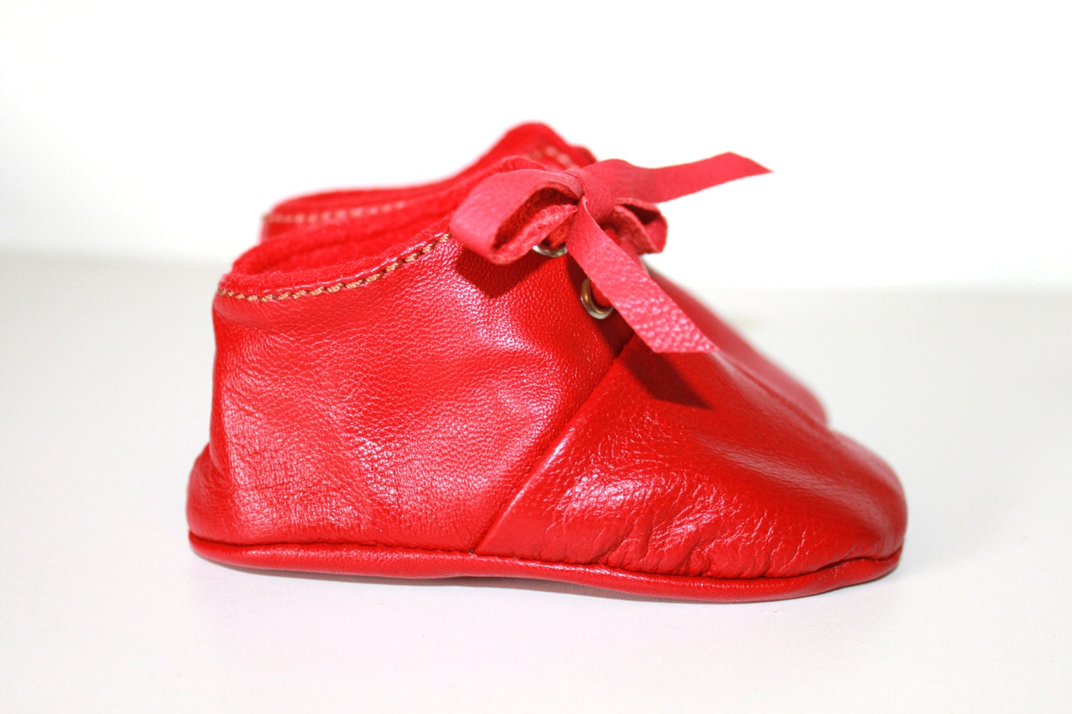 3 6 Months Slippers Baby Shoes Lamb Leather RED