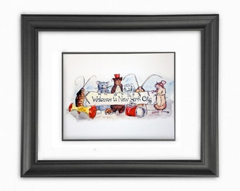 Welcome to New York Watercolor Illustration Print 8x10 in