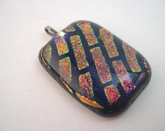 Dichroic Pendant, Fused Glass pendant, fused dichroic pendant, black pendant