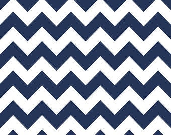Navy Blue Medium Chevron Fabric by Riley Blake. 100% cotton. Zig Zag Modern Designer Fabric - c320-21